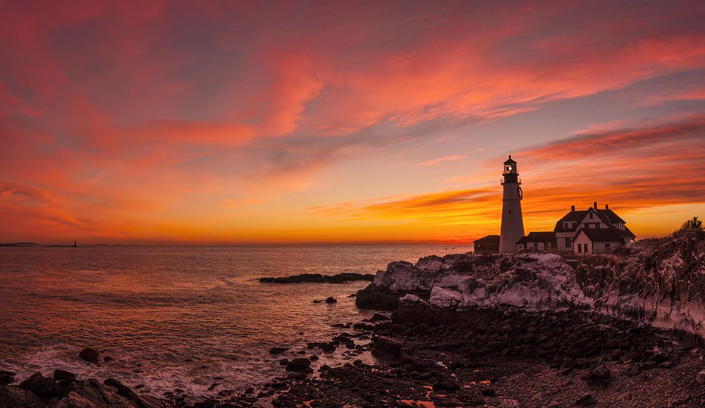 Portland Head Light under a winter's sky
