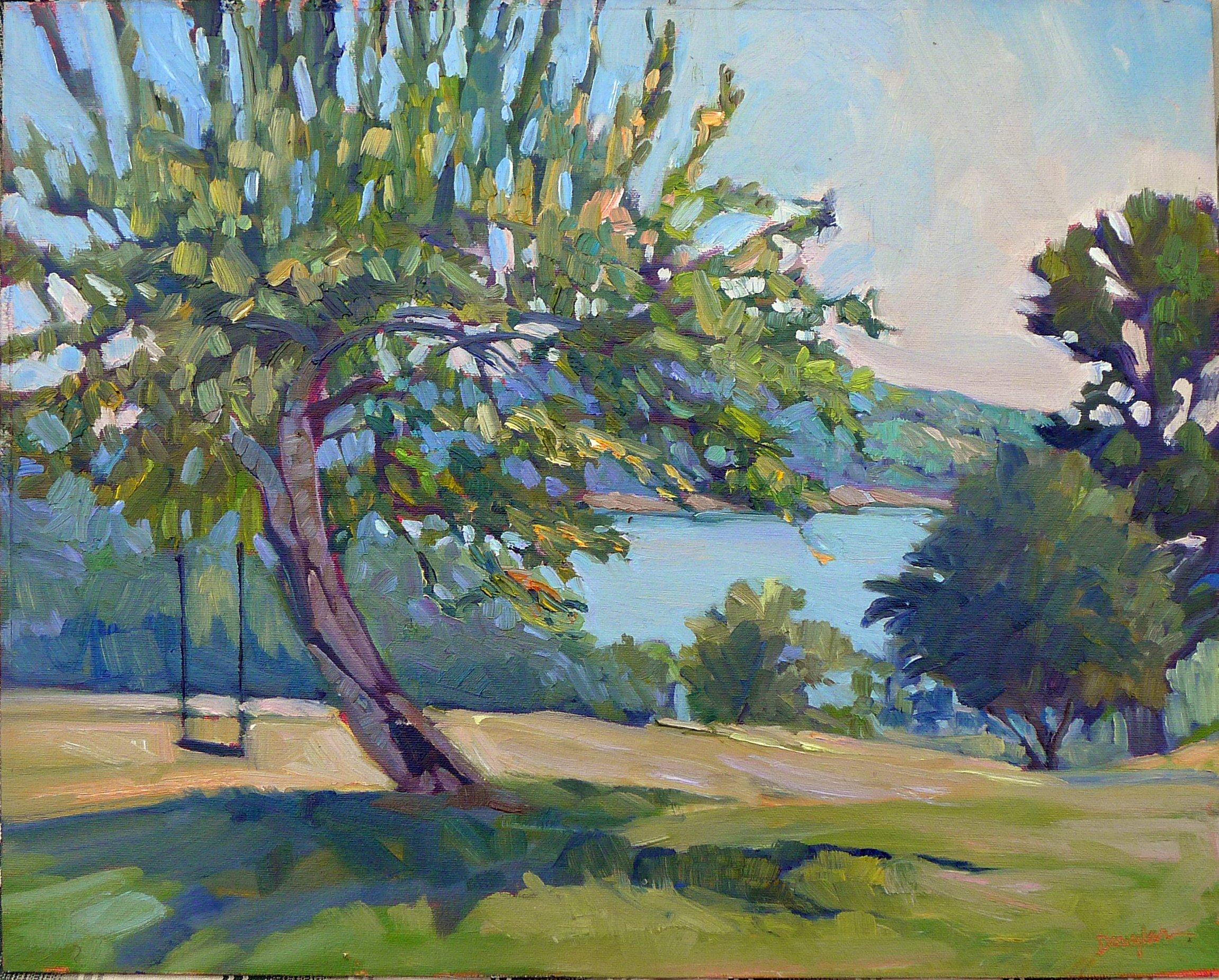Apple tree swing, oil on canvas