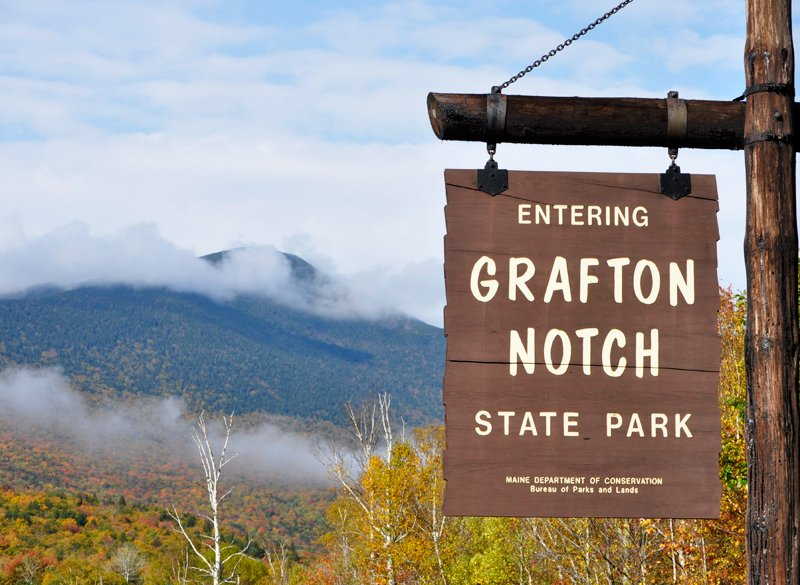 Entrence sign at Grafton Notch State Park.