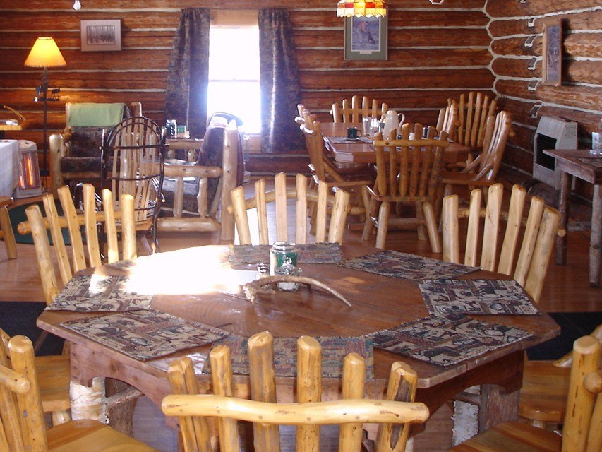 Octagon table for dignitaries.