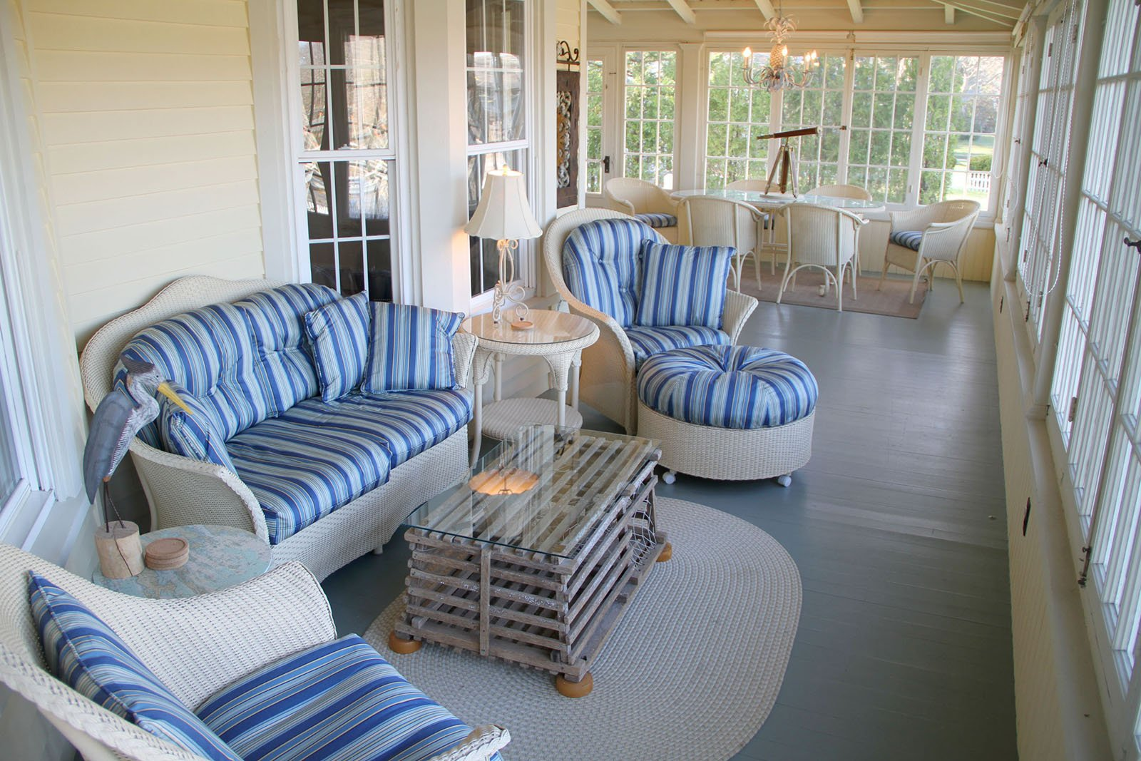 3-Season Porch - Dining on the Kennebunk River.  See much more at www.luxurykennebunkporthouserental.com