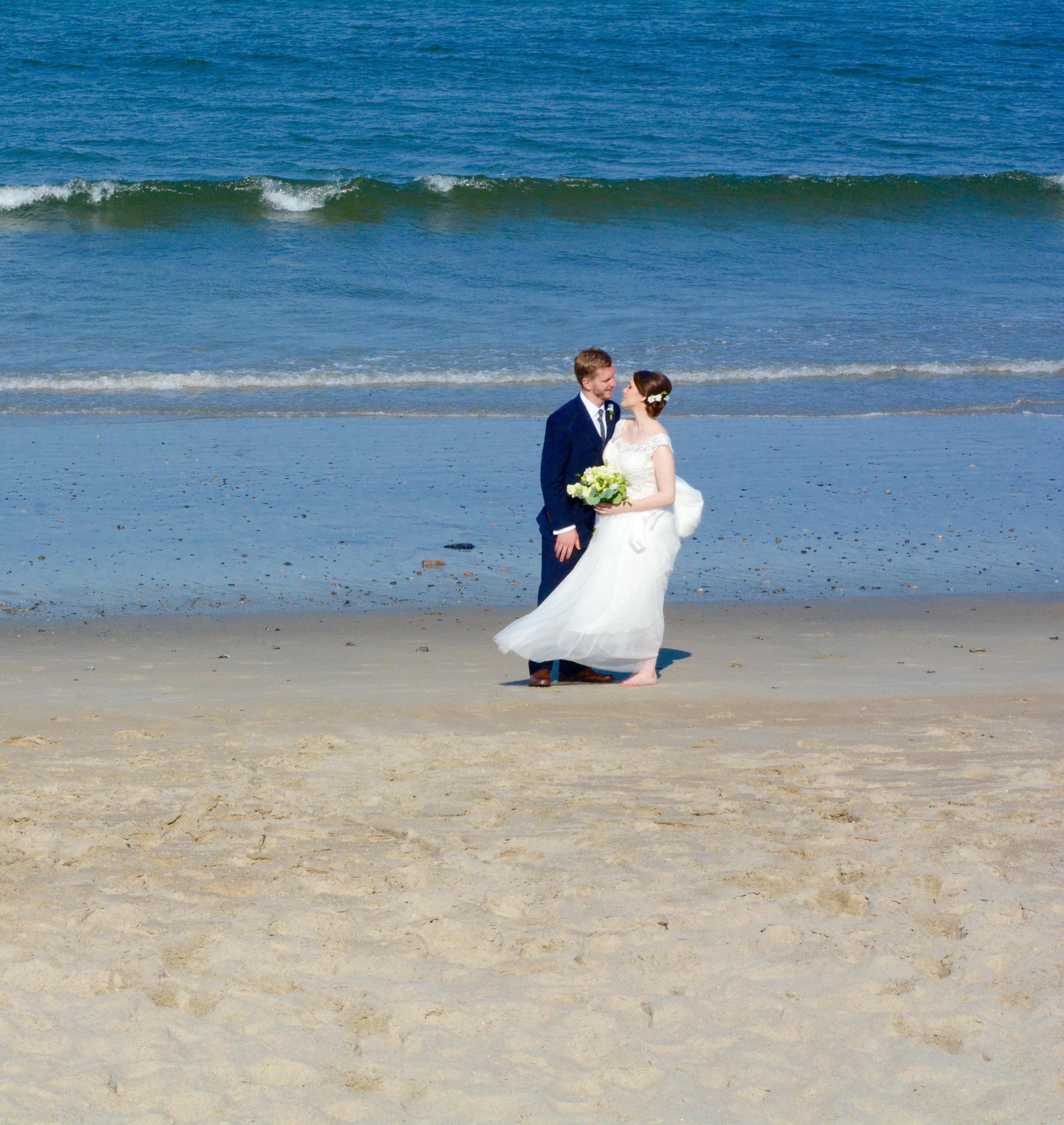 Wedding couple at Ferry Beach