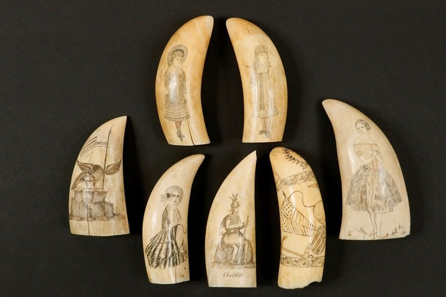 Group of scrimshaw from the Edmund Skillin marine collection to be sold at Thomaston Place Auction Galleries on February 16, 17 & 18