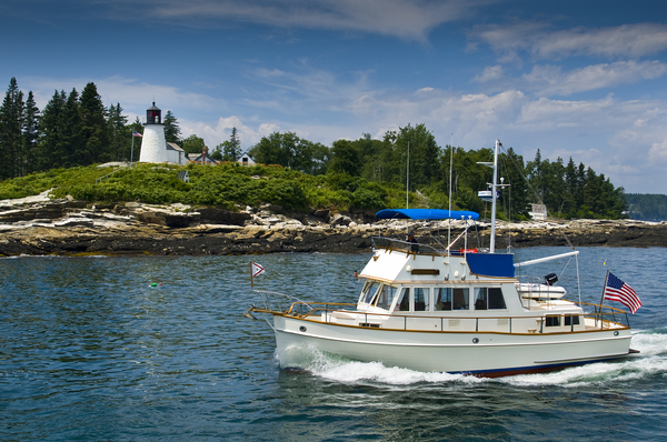 Burnt Island Lighthouse from the water, Boothbay Harbor