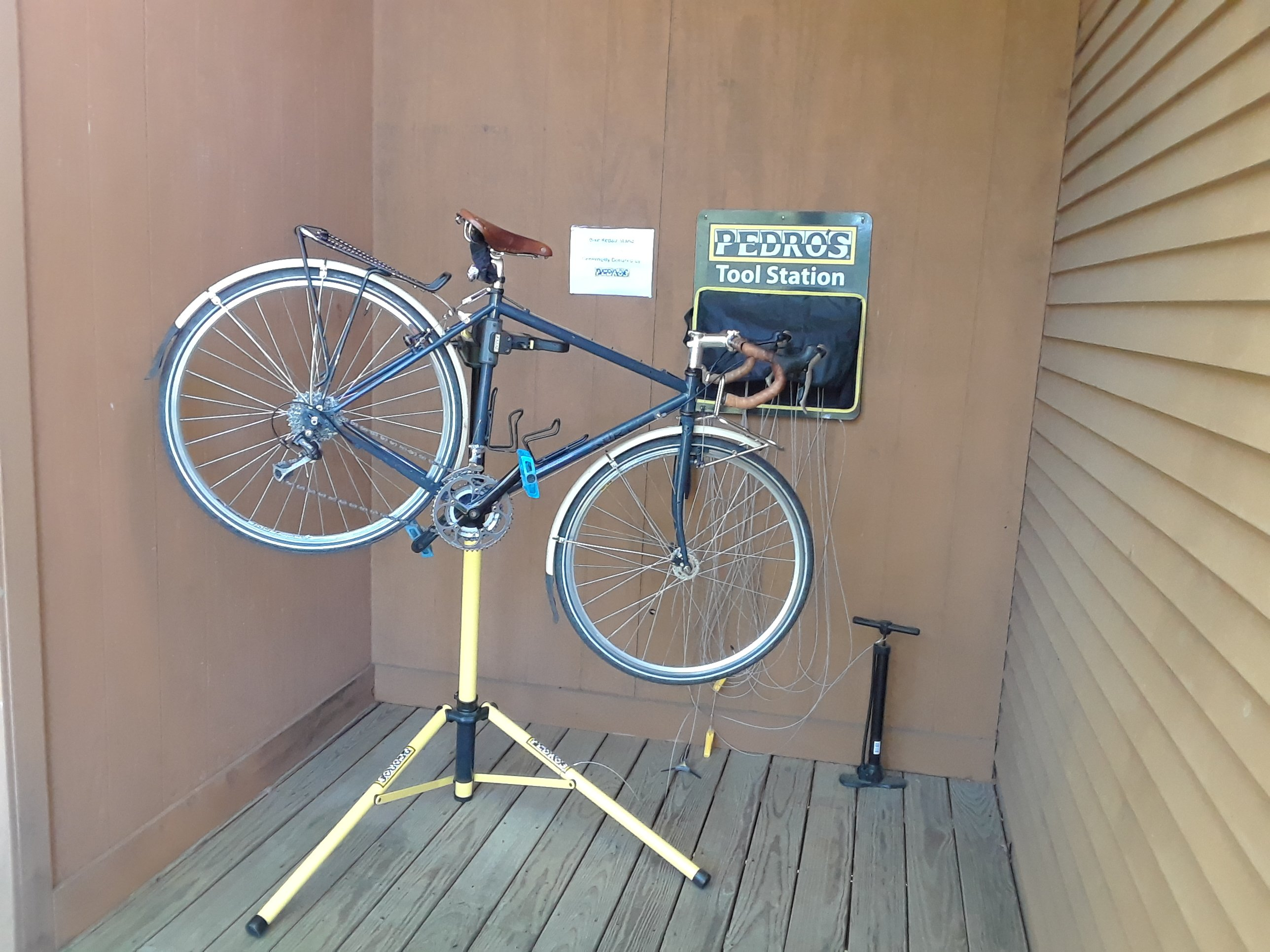 Bicycle repair stand and tool kit at our hotel.