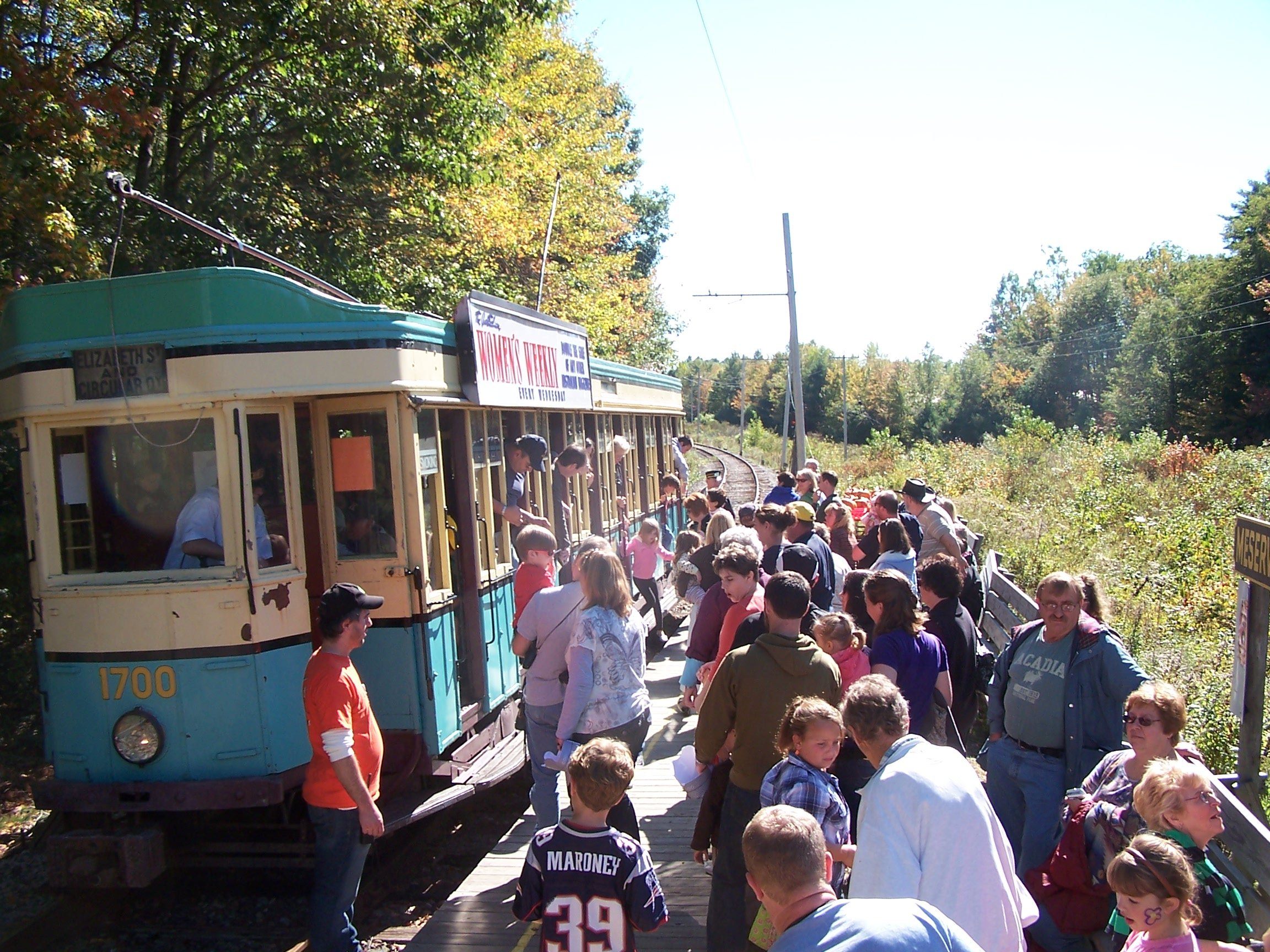 Trolley stopping at the pumpkin patch.
