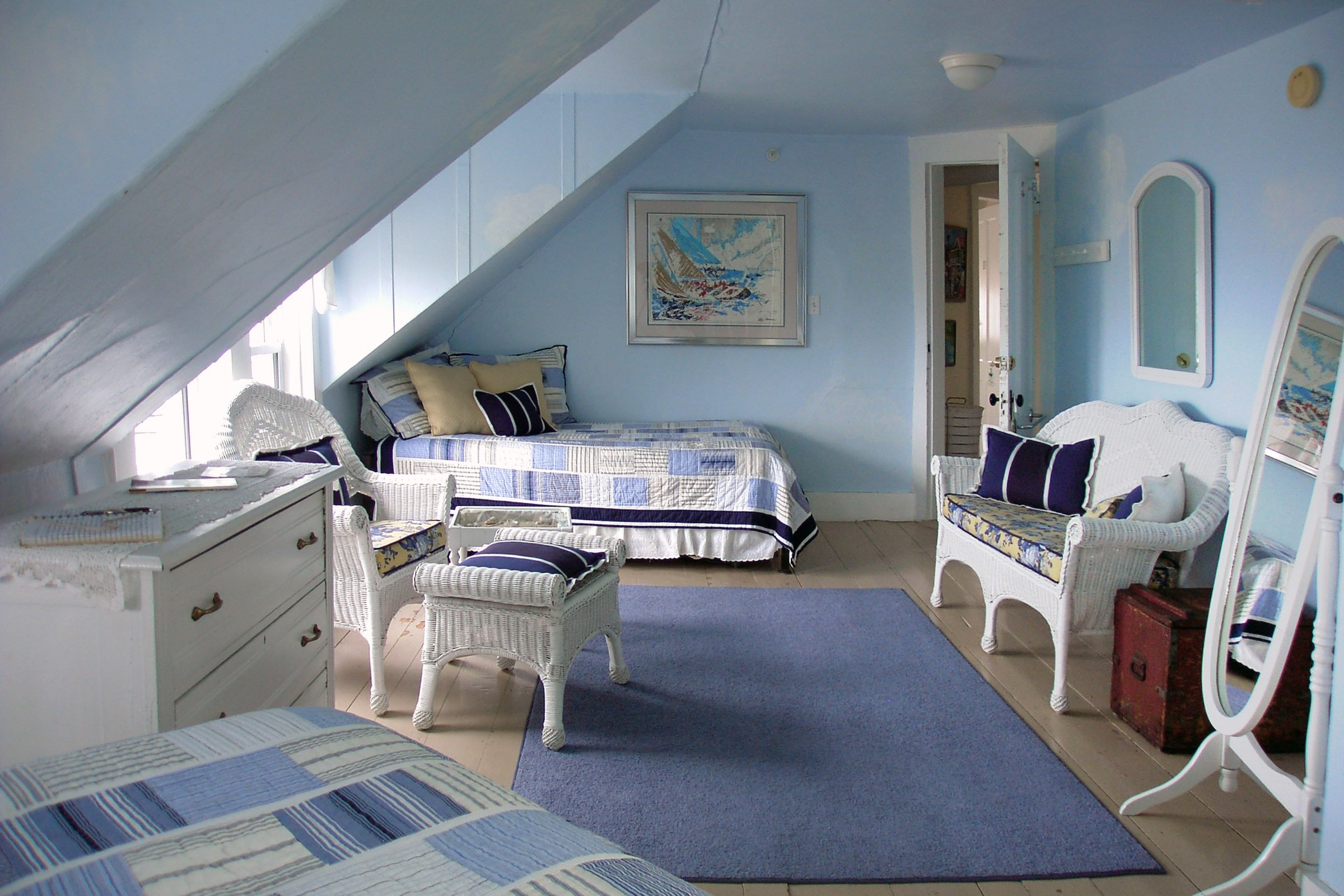 Guestroom #9, One double bed, one twin bed w/trundle, private bath, ocean view