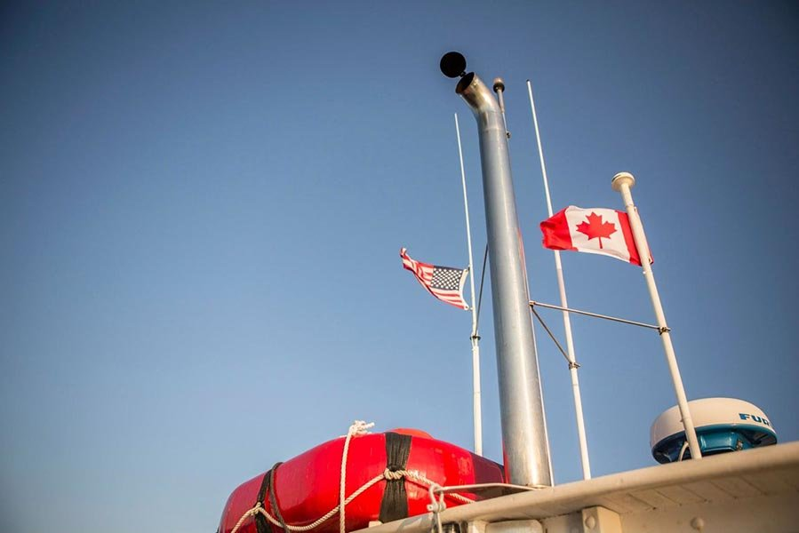 M/V MONHEGAN with her colors flying