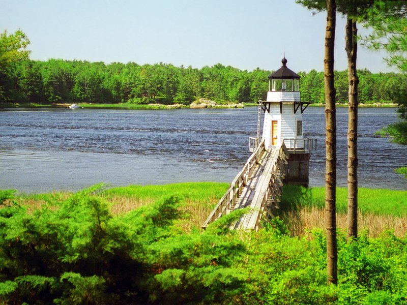 Doubling Point Lighthouse on the Kennebec River in Arrowsic, Maine.