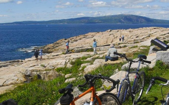 Biking on a rocky coast in Acadia National Park