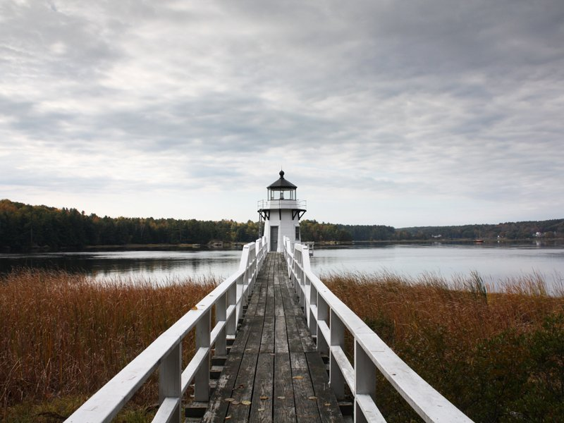 Historic Doubling Point Light on Arrowsic Island on the Kennebec River in Maine.