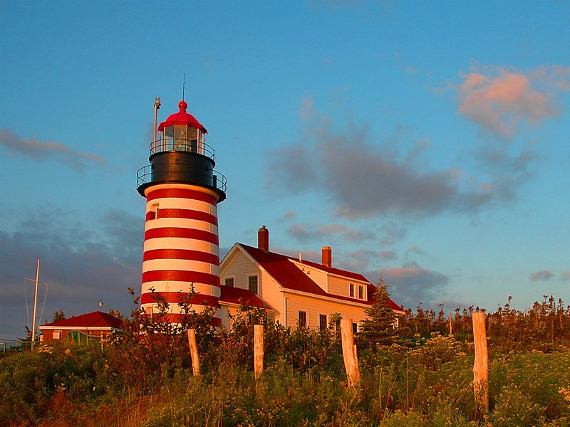 West Quoddy Headlight at sunset in Lubec.