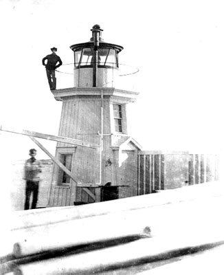 The original Portland Breakwater Light tower, circa 1855.
