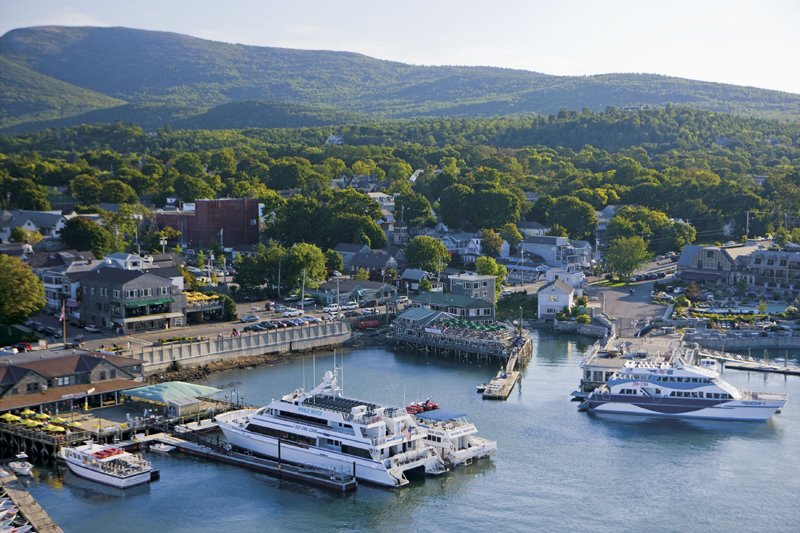 Aerial View of Bar Harbor and Acadia National Park.