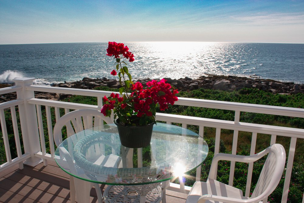 Sun sparkling on the open ocean. A perfect place for breakfast and breathing in the sea air.