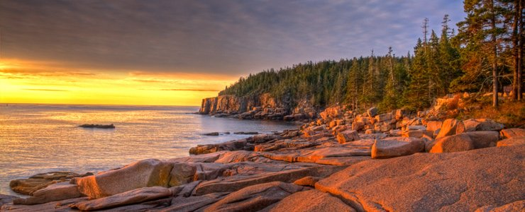 Gorgeous sunset seen while camping at Acadia National Park.