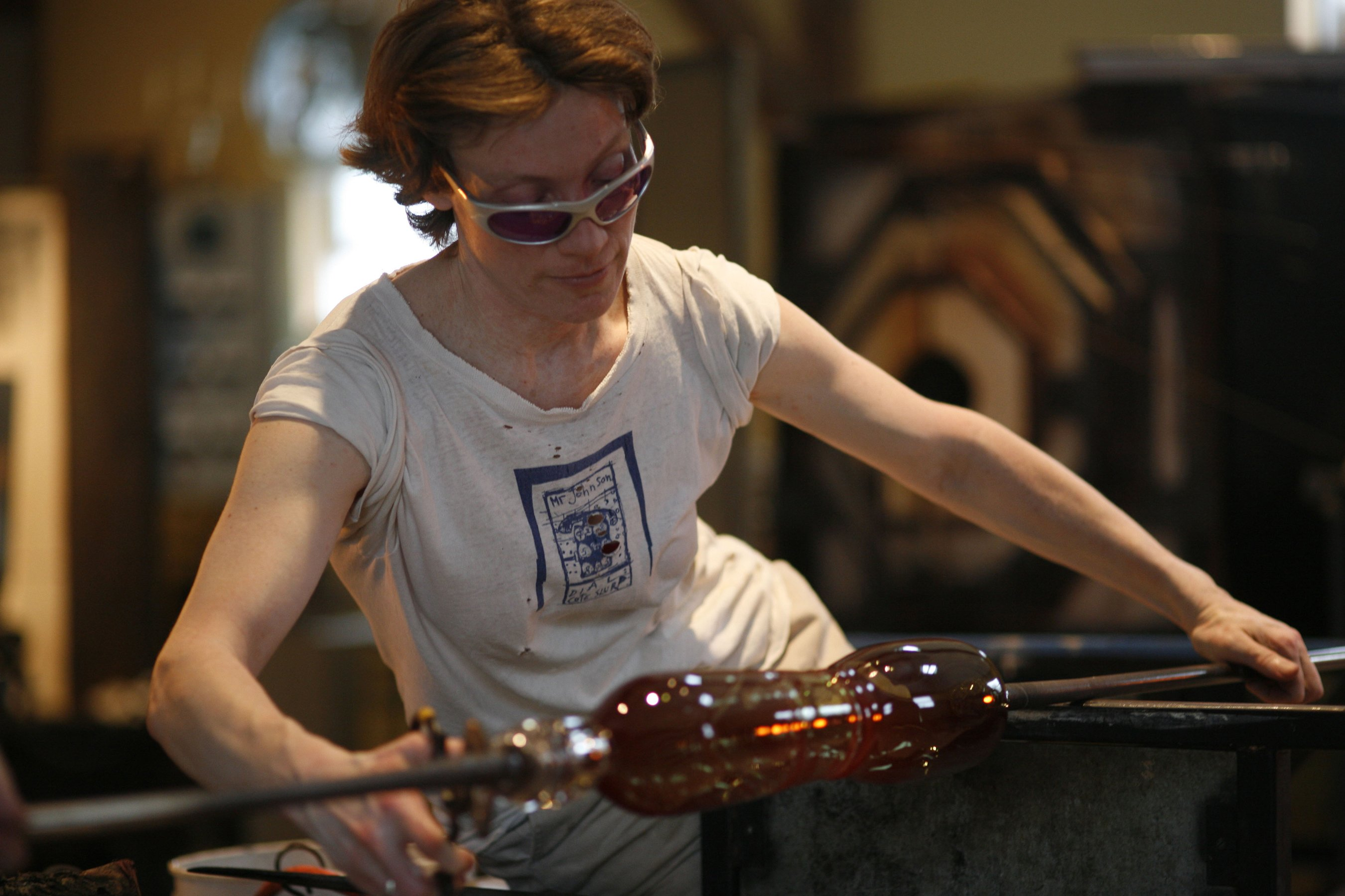 Terrill Blowing Glass in the Studio