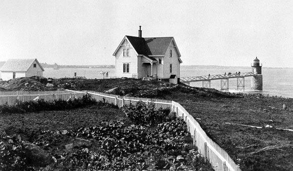 Historic Coast Guard photo of Ram Island light station.