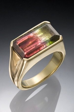 Bi color tourmaline unisex ring.