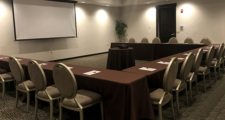 The Great Northern Meeting room can accommodate 48 guests with classroom style seating. The room includes a pull-down screen, flatscreen TV, and AV equipment rental is available.