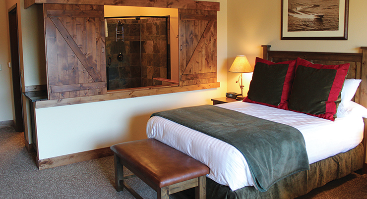 King Room with Barn Doors at the Viking Lodge