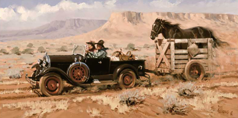 Life in the Fast Lane by Fred Fellows. A 1929 Model A with a homemade horse trailer changed the West! This work is a Lodge favorite and can be viewed in our lobby. – Fred Fellows