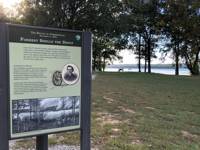 Interpretive signage near the river's edge puts visitors in the difficult place in which Federal soldier's found themselves in November of 1864, just months before the war ended. – Susan Jones