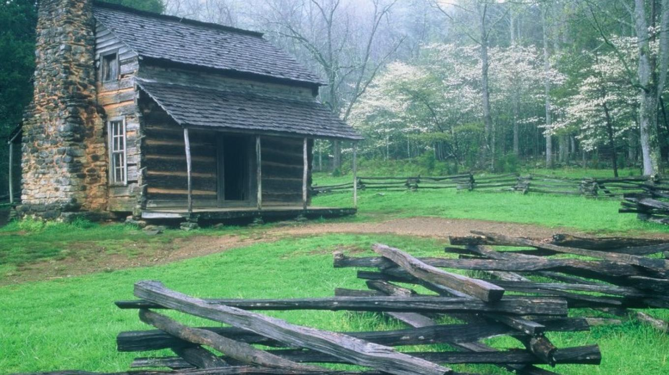 John Oliver Cabin and Dogwoods – Townsend Visitors Center