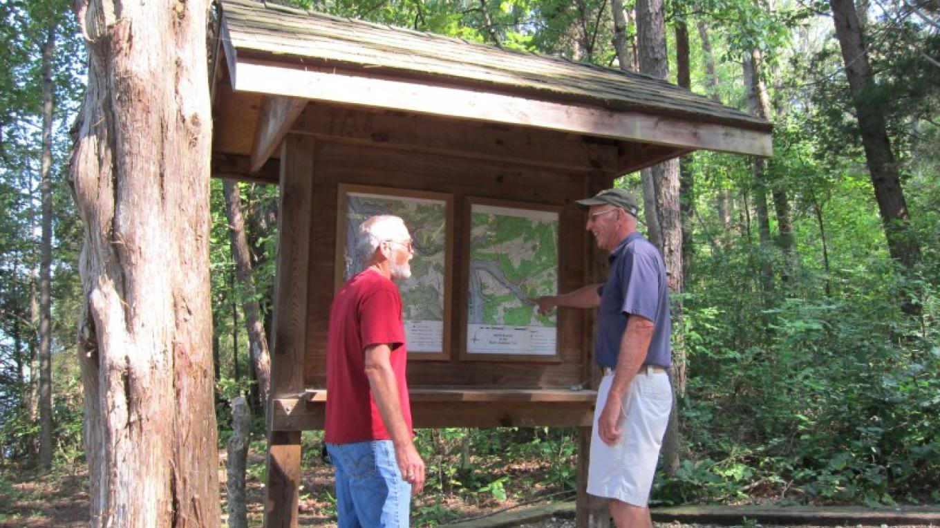 One of 4 kiosks that provide both overview maps of the trail system and detailed trail maps – Lou Livengood