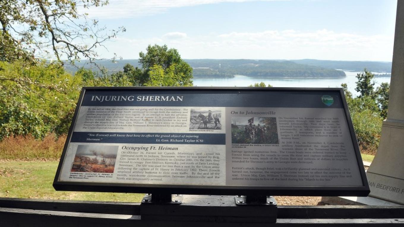 High atop Pilot's Knob, the deck not only offers interpretation of the war, but also a bird's eye view of where it took place on the river below. – Jean Owens