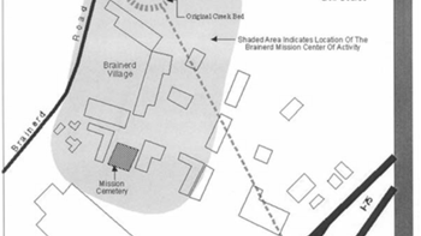 View of cemetery located within one corner of original mission site simulated – Historic Map