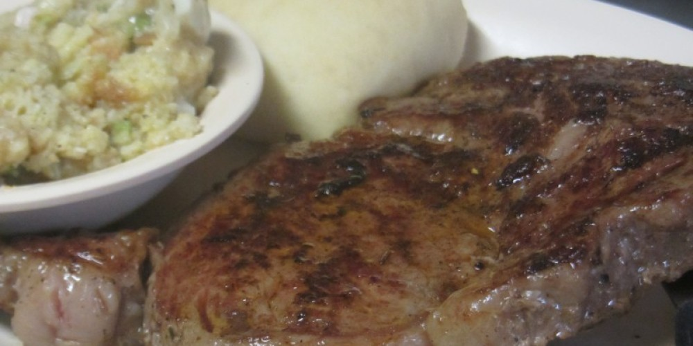 Nice marbeled rib-eye  waiting on you cooked just the way you like it!