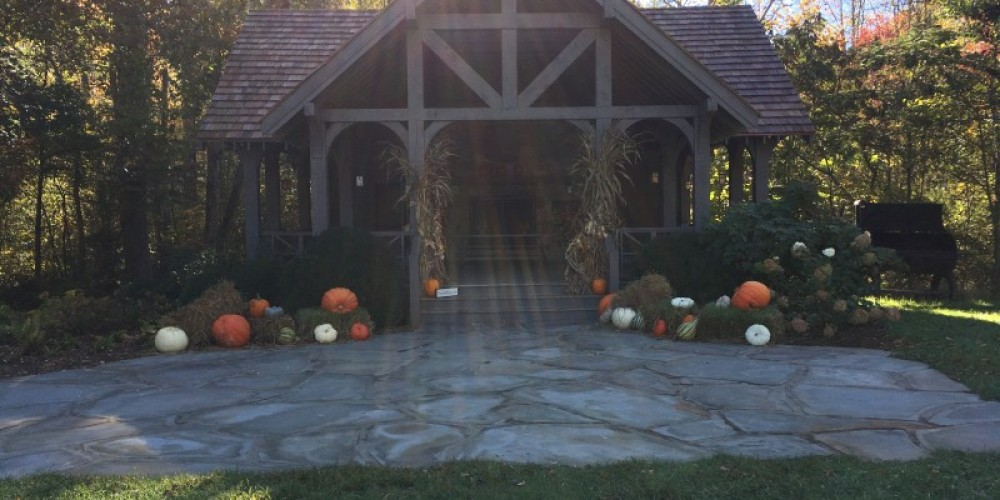 Everywhere you turn is a view of something perfect.  Here is a  typical Fall decoration at an open air lodge that can be rented for a private event, or just a great place to rest your feet along the way while exploring. – Kenny Markanich