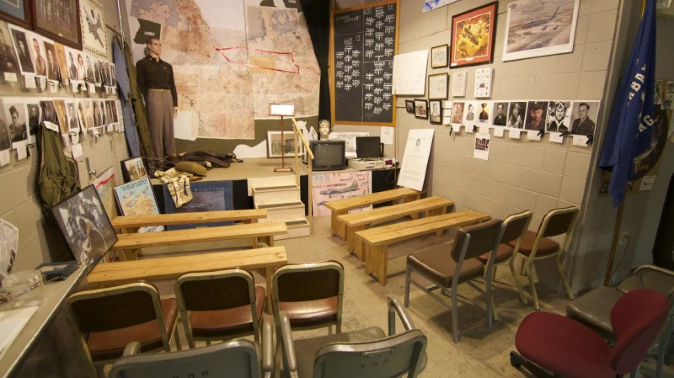 The U.S. Veterans Memorial Museum's Eighth Air Force Briefing Room is a scaled replica of the briefing room of the 385th Bomb Group, USAAF in Great Ashfield, England during 1943-45. – Brad Wiegmann