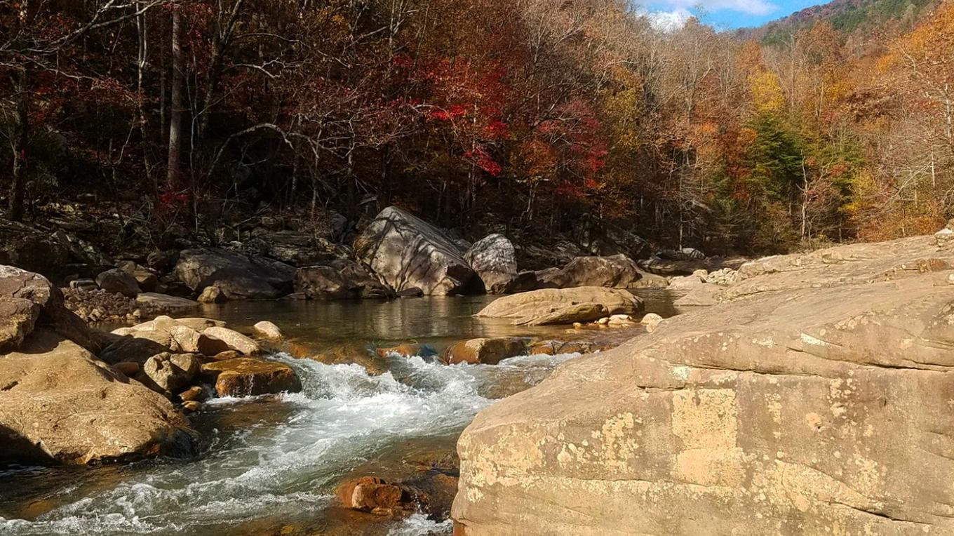 Crystal waters, wonderful colors and close proximity to Chattanooga make North Chickamauga Creek a most popular Cumberland Trail day-hike destination in Hamilton County. – Mark Engler