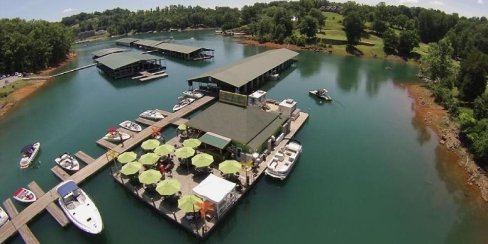 Aerial picture of Deerfield Cove Marina's Tiki Bar/Restaurant