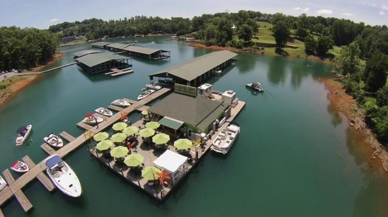 Aerial picture of Deerfield Cove Marina's Tiki Bar/Restaurant