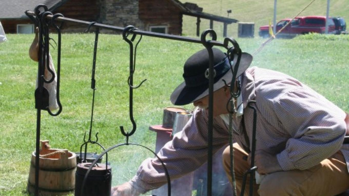 Re-enactor during Living History Days at the Fort – Pam May