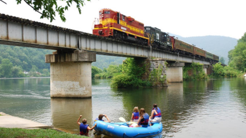 Train crossing bridge in Reliance on Hiwassee River. – Jim Caldwell