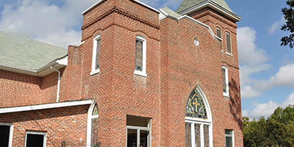 Founded in 1867, Quinn Chapel AME Church borders the cemetery to the north. – Jean Owens