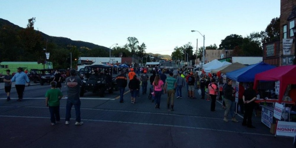 An evening picture of the Big Creek Fall ATV Festival in downtown city of LaFollette before the firework show