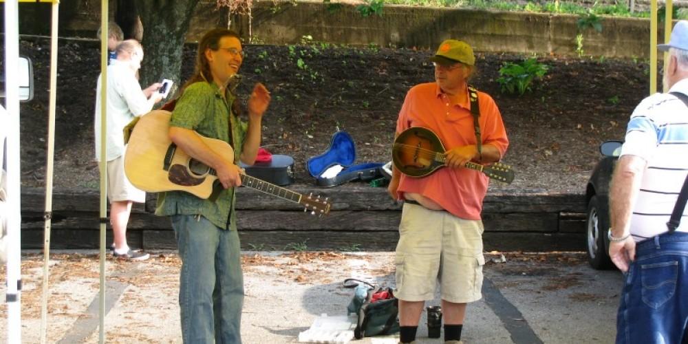Chris Durman and Steve White  opening day at the Dandridge Farmer's Market. – Candy Durman