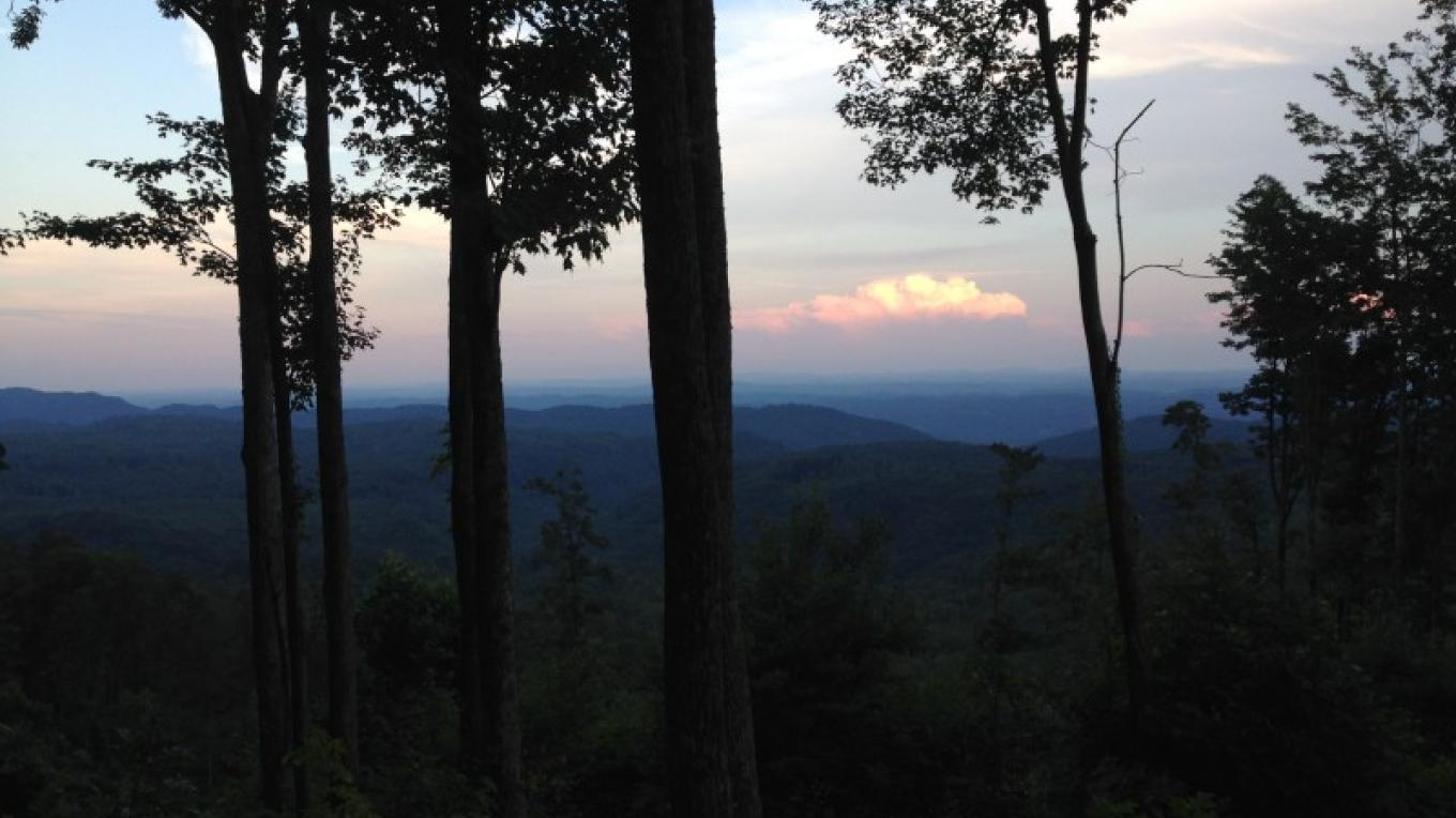 Twilight view of the mountains from the top of the TWRA trails