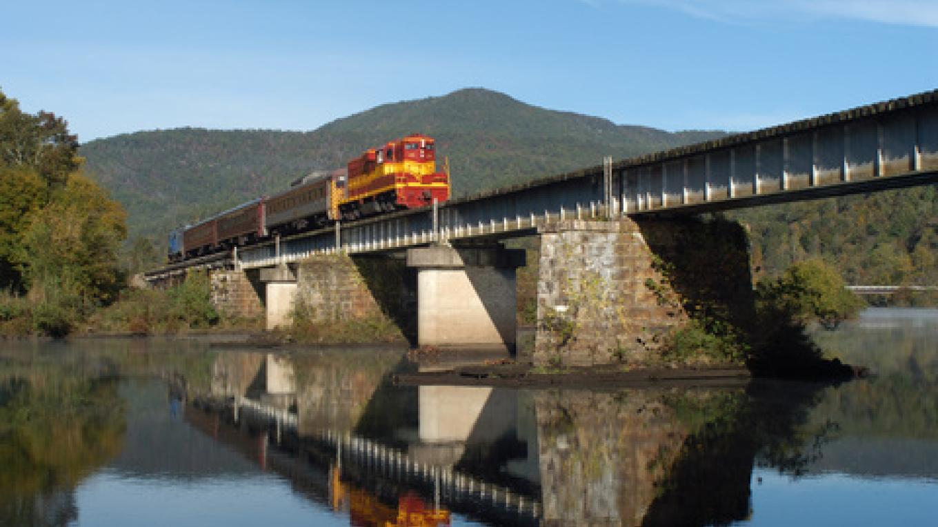 Train crossing Hiwassee river. – Jim Caldwell