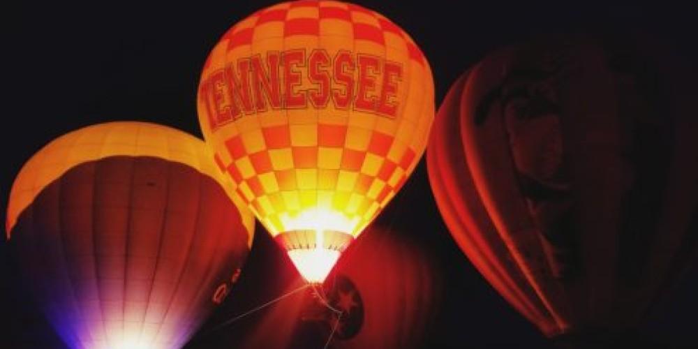 Enjoy the Hot Air Balloon Glow at dusk. – Great Smoky Mountain Balloon Festival