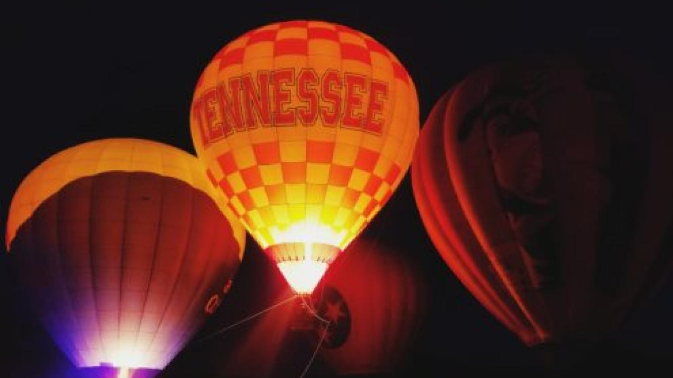 Enjoy the Hot Air Balloon Glow at dusk. – Great Smoky Mountain Balloon Festival