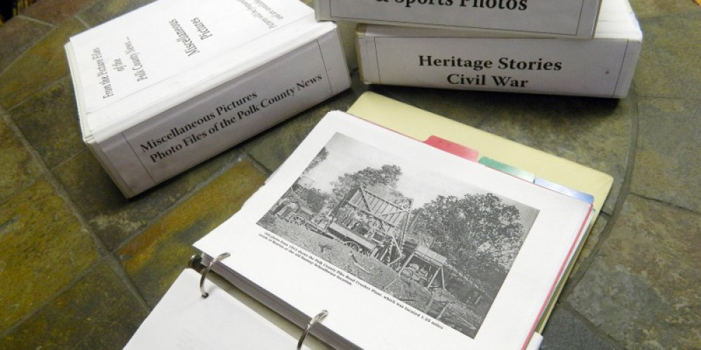 Notebooks filled with Polk County Heritage are ready for perusal. – Cheryl Maxwell