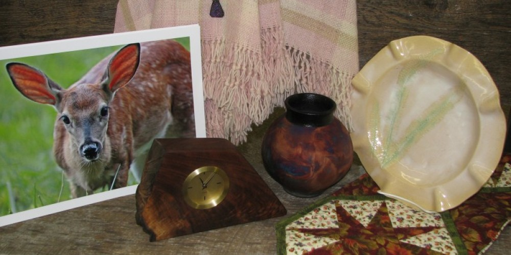 Samples of the types of handcrafted items for sale at the Appalachian Arts Craft Center