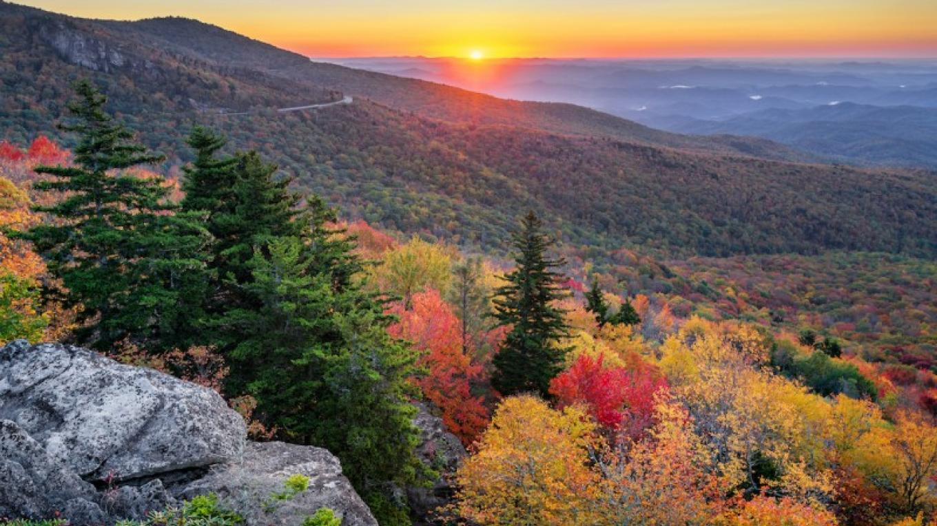 An autumn sunrise over the Blue Ridge Parkway in North Carolina – Anthony Heflin
