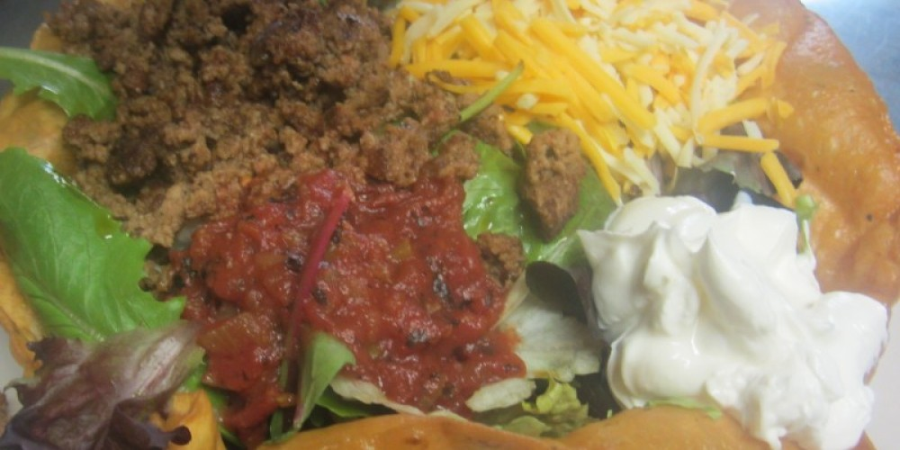 Taco Salad made with fresh greens=)